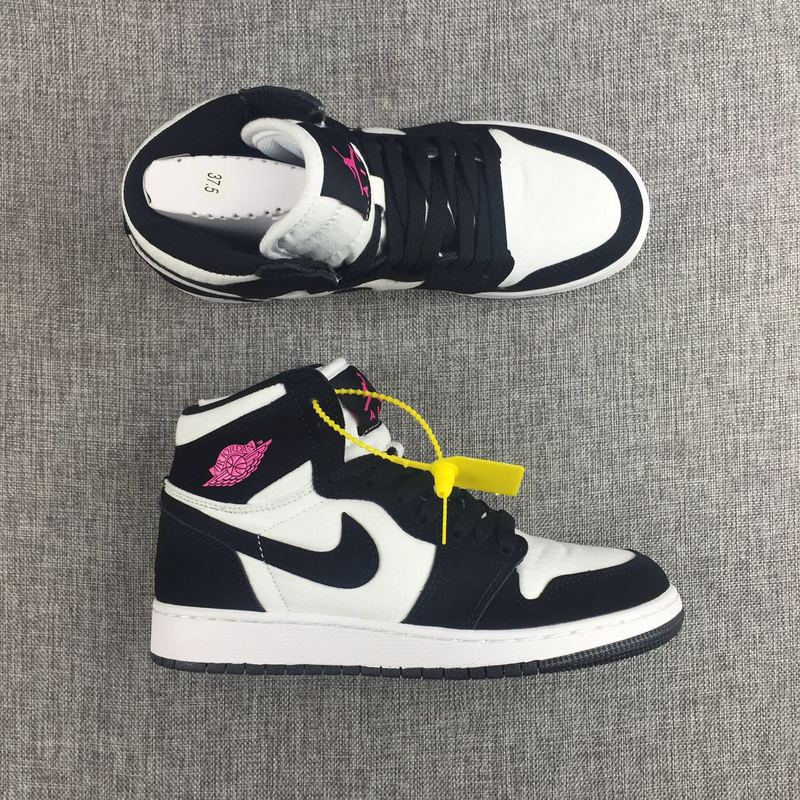 New Women Air Jordan 1 Retro Panda Black White Red Shoes