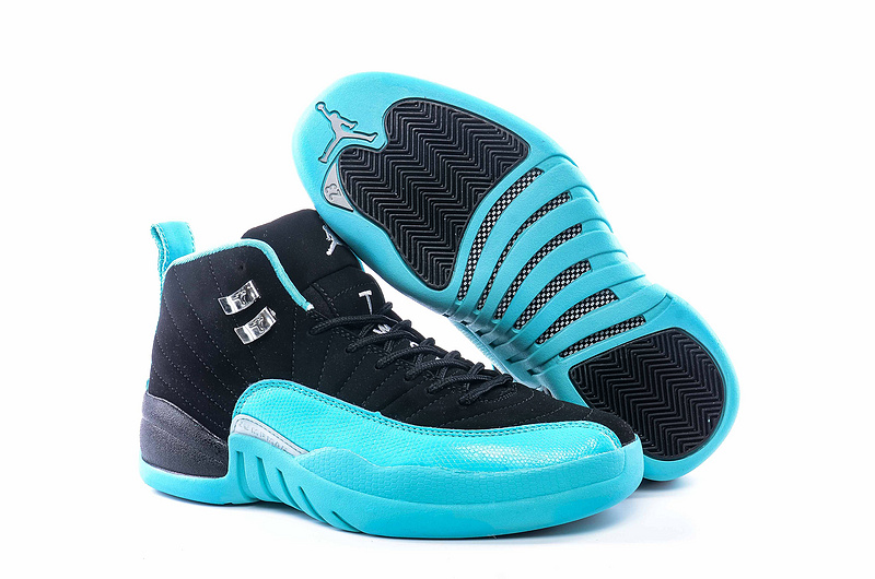 New Women Jordan 12 Retro Black Blue Shoes