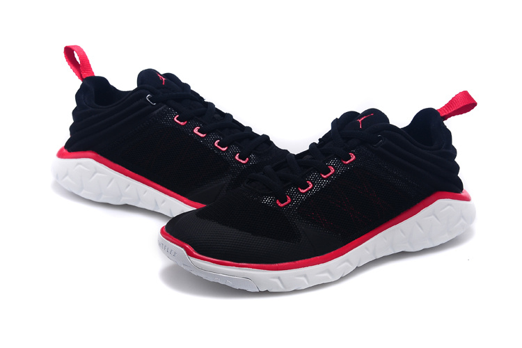 New Women Jordan Running Shoes Black Red White