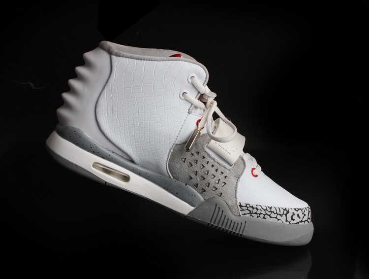 Nike Air Yeezy 2 White Grey Cement Shoes