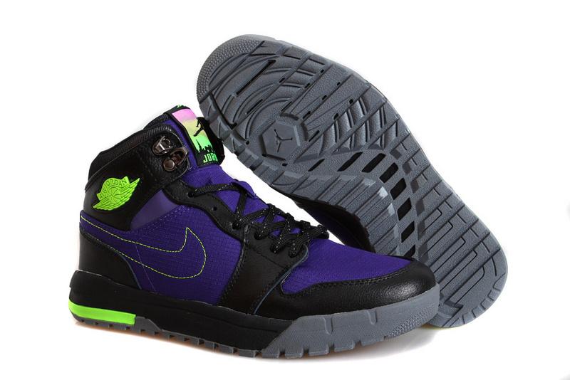Nike Jordan 1 Trek Black Purple Climbing Shoes