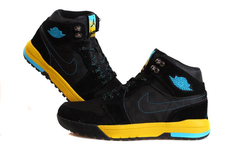 Nike Jordan 1 Trek Black Yellow Blue Climbing Shoes