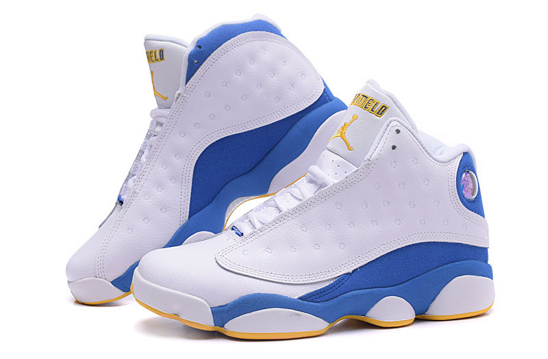 Nugget Jordan 13 Anthony White Blue Yellow Shoes