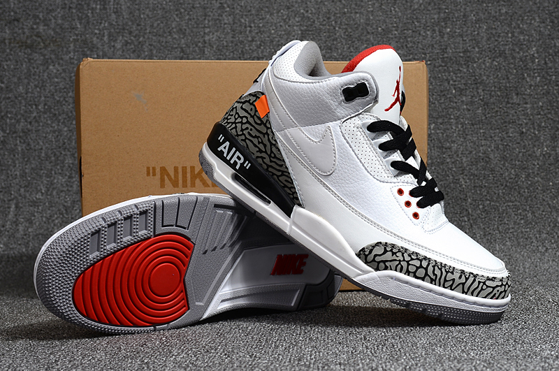Off-white Air Jordan 3 White Cement Grey Black Shoes