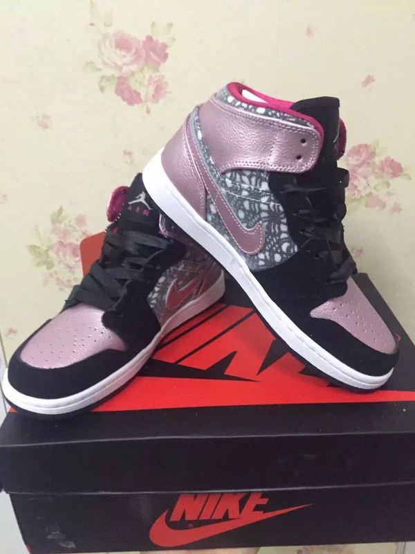 Original Air Jordan 1 Black Pink Shoes For Women