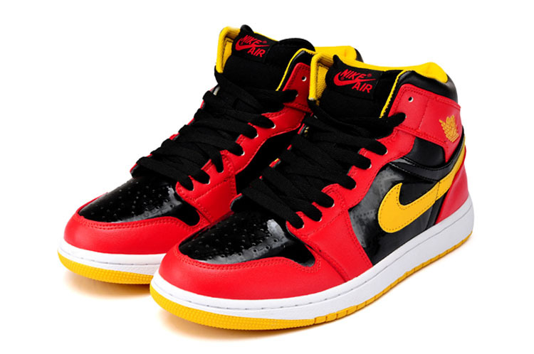 Original Air Jordan 1 Steelman Black Red Yellow Shoes