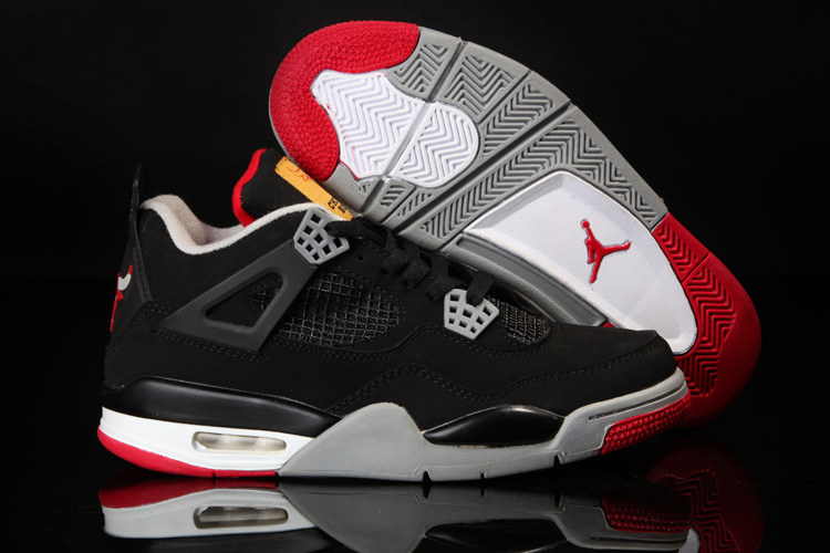 Original Air Jordan 4 Black White Red Shoes With Bulls