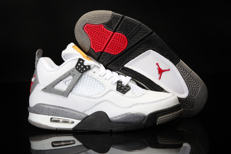 Original Air Jordan 4 White Black Shoes With Bulls