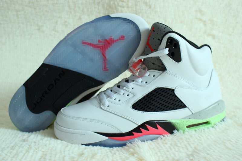 Original Air Jordan 5 Retro Venomenon White Black Fire Red Green Shoes