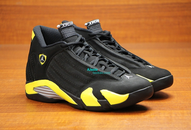 Original Jordan 14 Shoes Thunder Edition Black Yellow