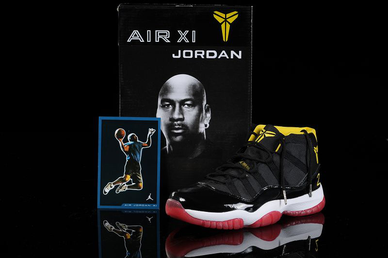 Kobe Air Jordan 11 Black White Red Shoes