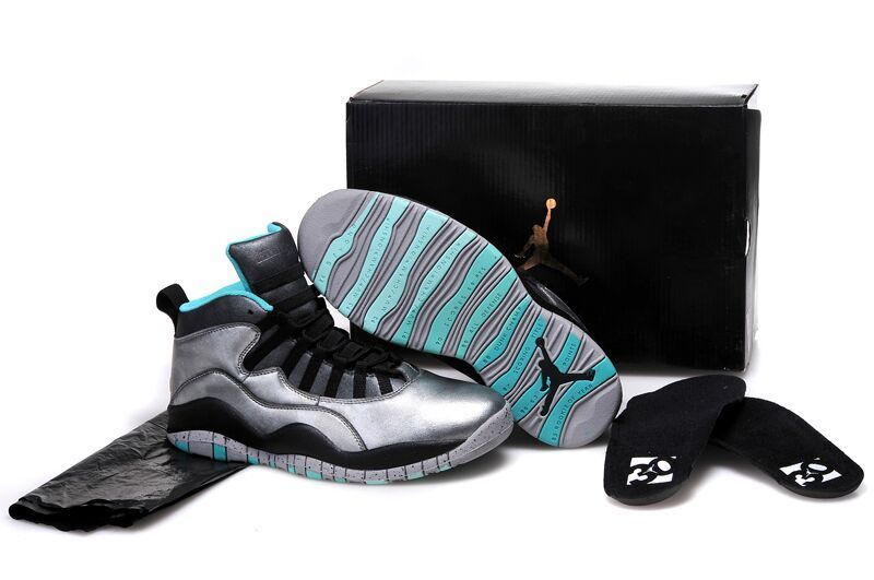 Original Silver Black Blue Air Jordan 10 Retro Bulls Over Broadway Shoes