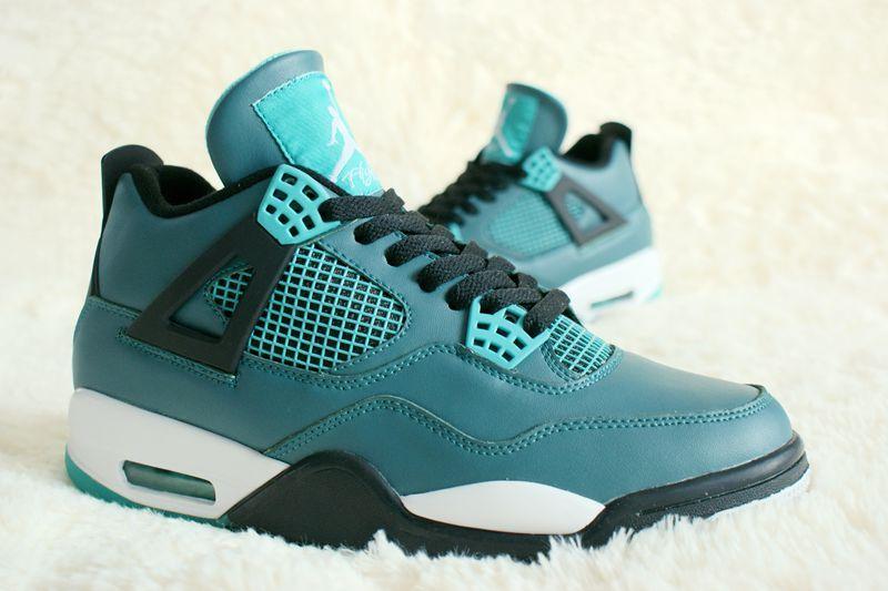 Perfect Air Jordan 4 Laker Water Blue Shoes