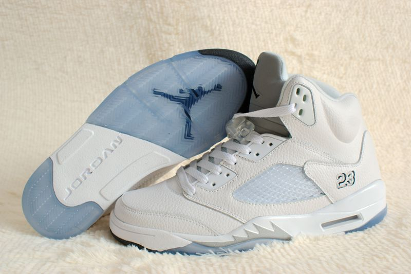 Perfect Air Jordan 5 Retro White Silver Shoes