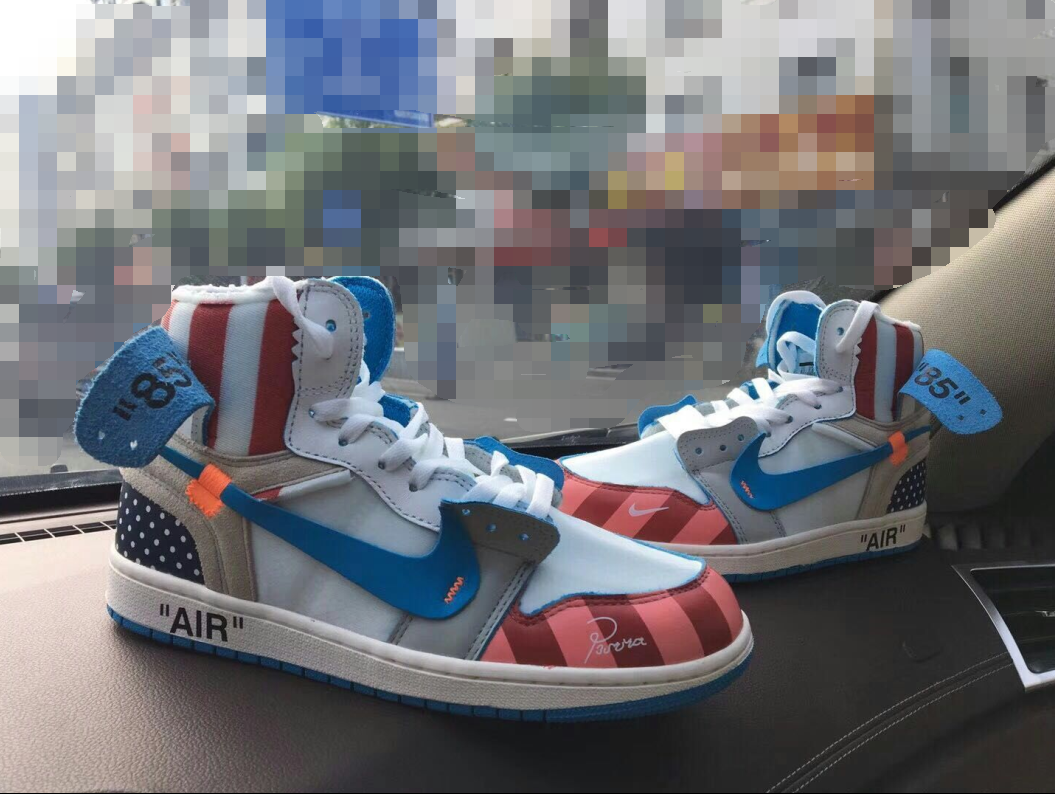 Piet Parra xOFF WHITE NRG x NIKE AIR Jordan 1 Rainbow Amusement Park Shoes
