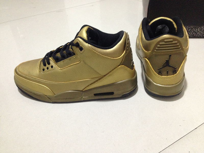 Real Air Jordan 3 Retro All Gold Black Shoes