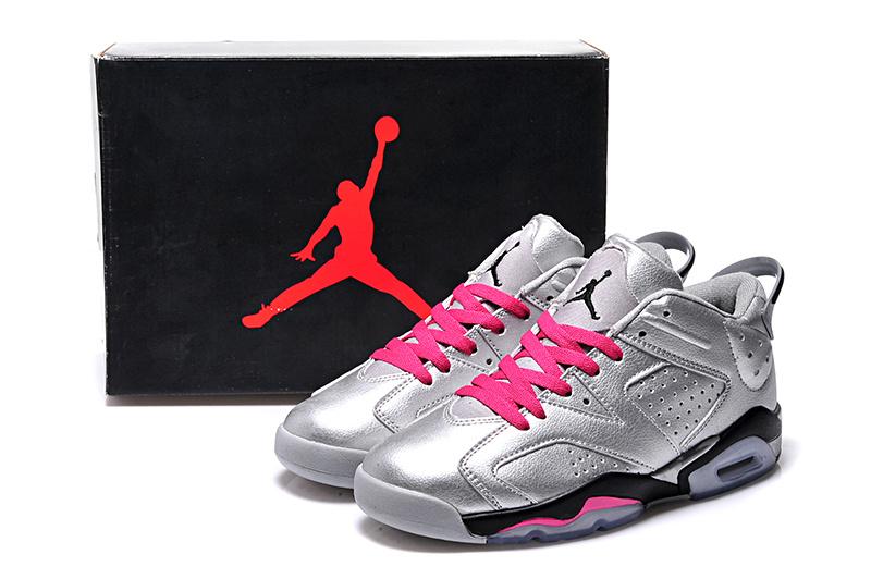 Silver Pink Black Air Jordan 6 Low Women Shoes