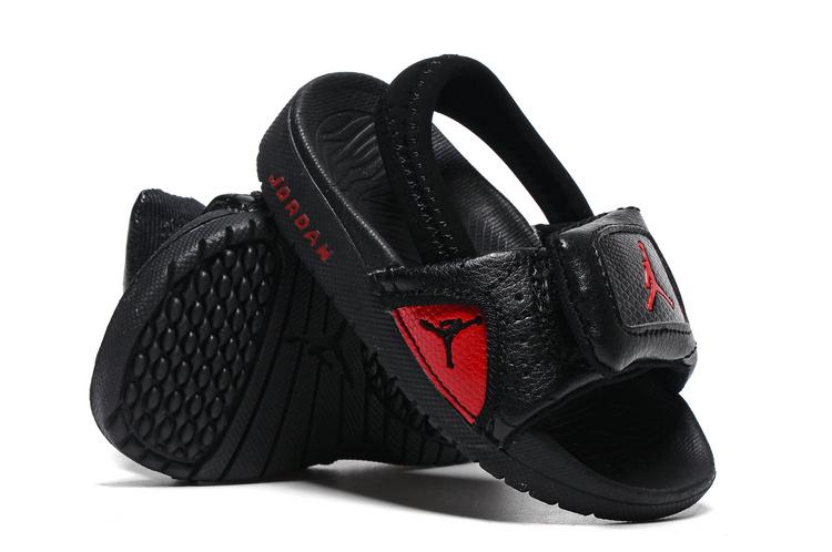 Toddler Jordan 12 Black Red Slipper