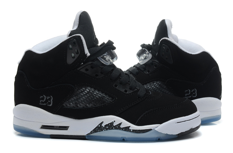 New Top Layer Leather Air Jordan 5 Black White Shoes