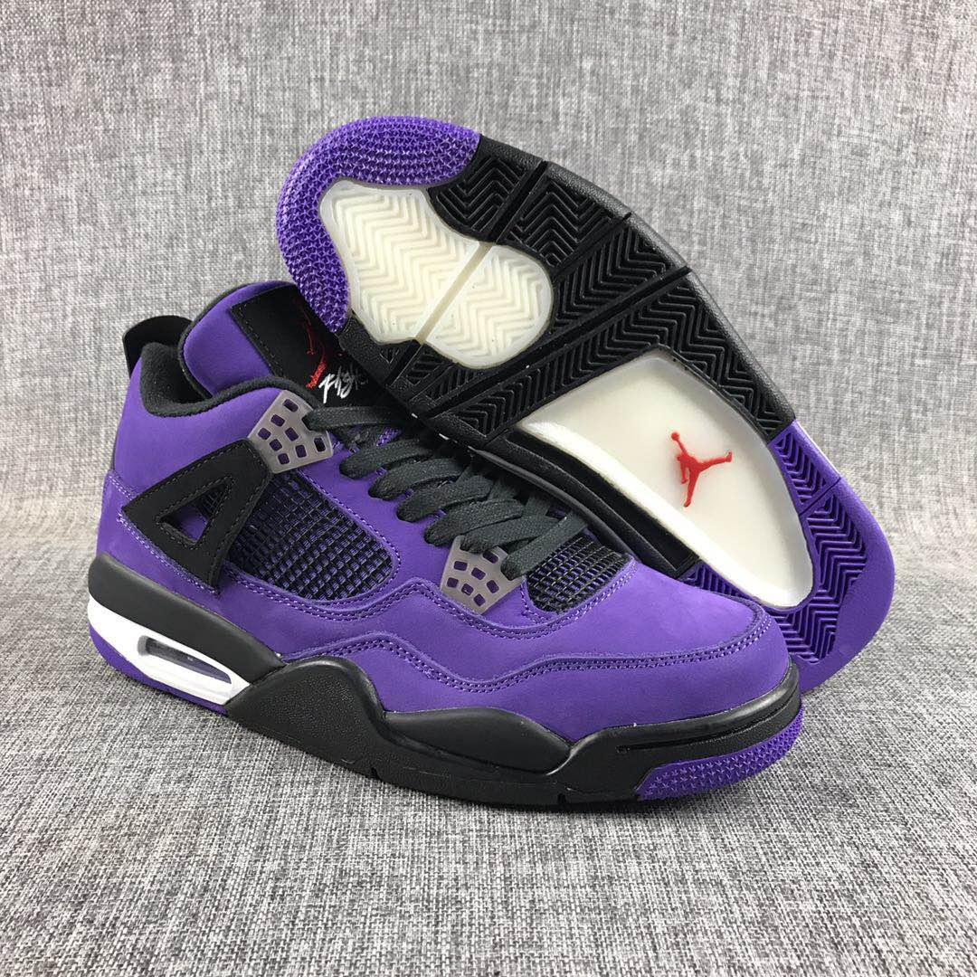 Travis Scott x Air Jordan 4 Purple Black Shoes