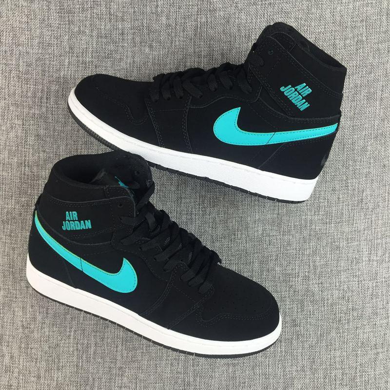 Women Air Jordan 1 Black Jade Shoes