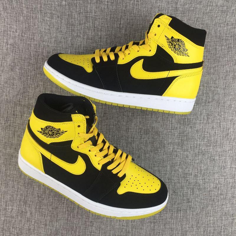 Women Air Jordan 1 Bruce Lee Yellow Black Shoes