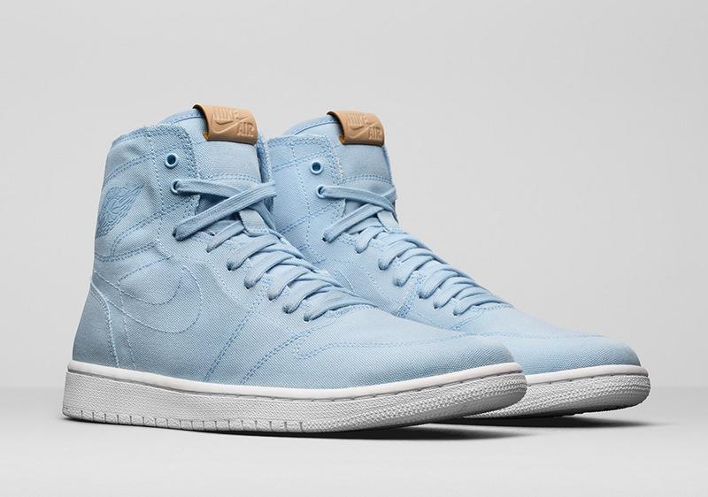 Women Air Jordan 1 Canvas Light Blue White Shoes