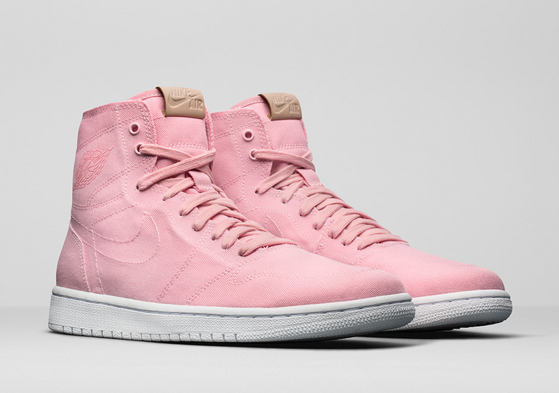 Women Air Jordan 1 Canvas Pink White Shoes