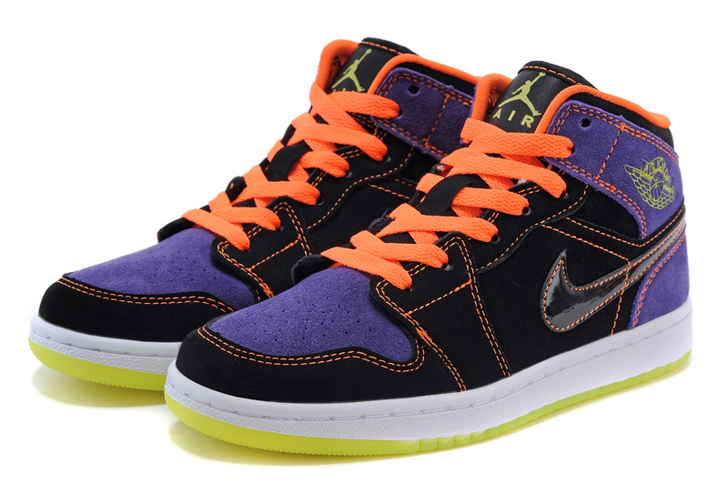 Women Air Jordan 1 Hollowmas Orange Black Purple Shoes