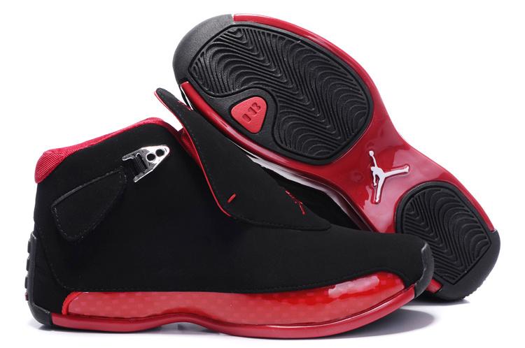Women Air Jordan 18 Black Red Shoes