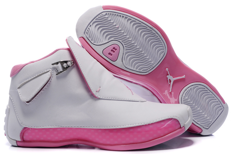 Women Air Jordan 18 White Pink Shoes