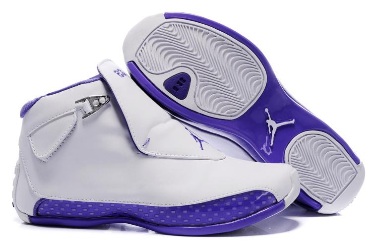 Women Air Jordan 18 White Purple Shoes