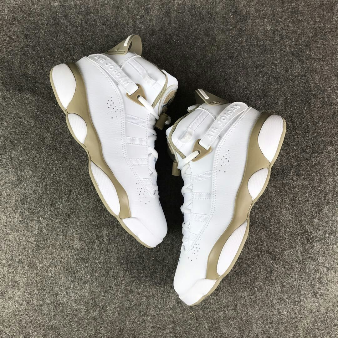 Women Air Jordan Six Rings White Yellow Shoes