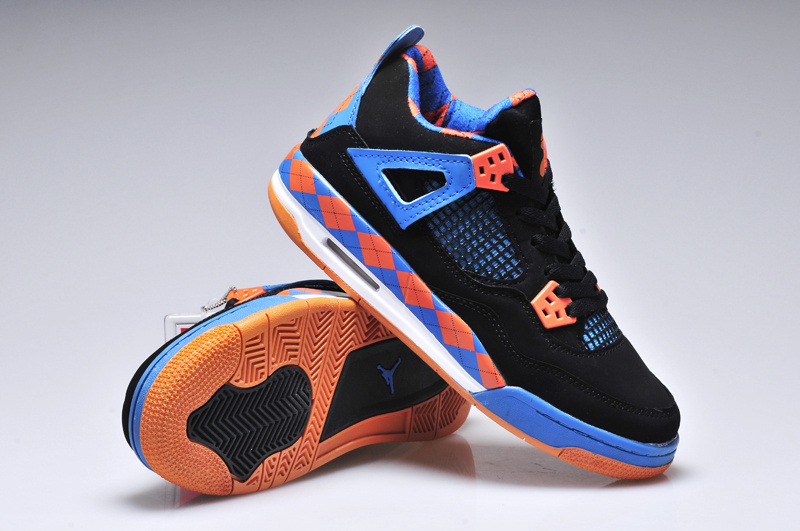 New Women Jordan 4 Barefoot Print Black Blue Orange Shoes