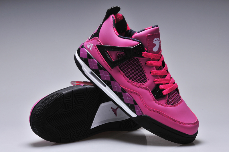 New Women Jordan 4 Barefoot Print Pink Black Shoes