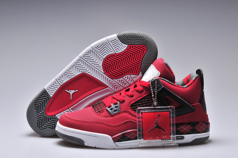 New Women Jordan 4 Barefoot Print Red Black White Shoes