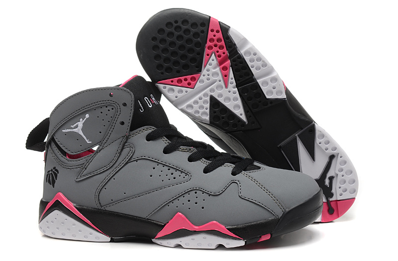 Women Air Jordan 7 Grey Black Pink Shoes