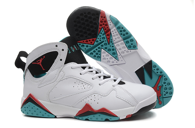 Women Air Jordan 7 White Black Red Green Shoes