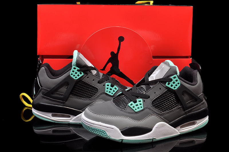 New Womens Jordan 4 Hardback Black Grey Green White Shoes