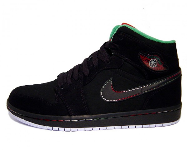 Jordan 1 Retro Black White Classic Green Varsity Red Shoes