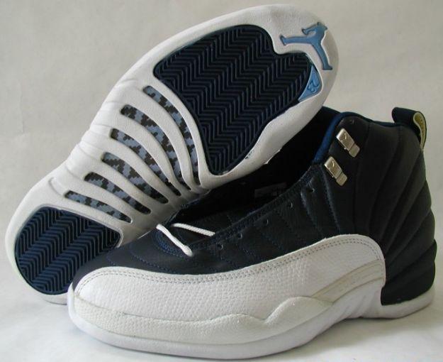 jordan 12 obsidian obsidian white french blue shoes