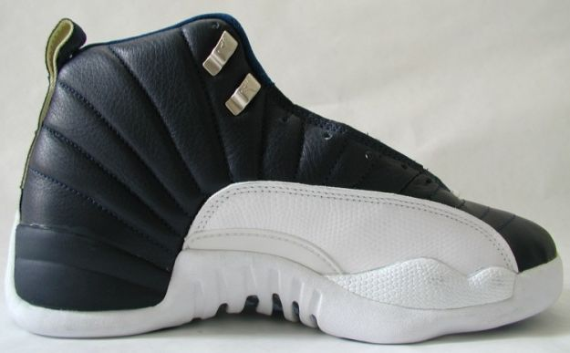 jordan 12 obsidian obsidian white french blue shoes