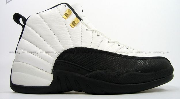 jordan 12 taxi white black gold shoes