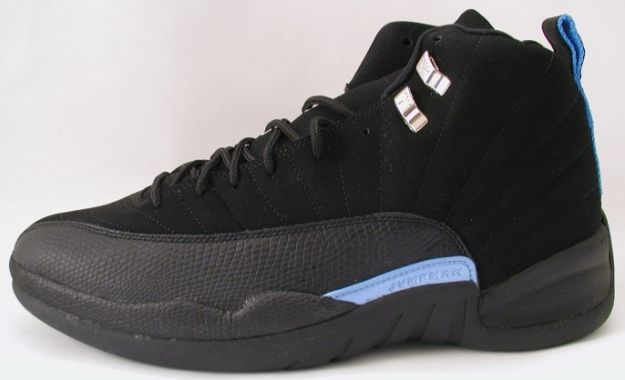 Jordan 12 Retro nubucks unc black university blue shoes