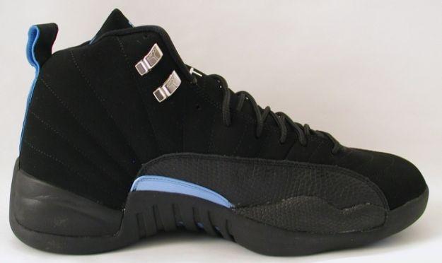 Jordan 12 Retro nubucks unc black university blue shoes