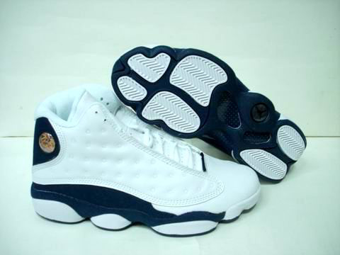 Jordan 13 Retro white blue shoes