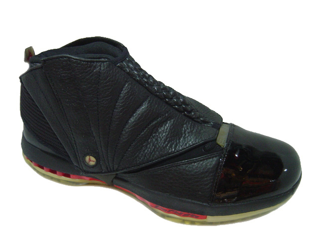 air jordan 16 black varsity red shoes