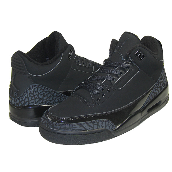 womens air jordan retro 3 all black