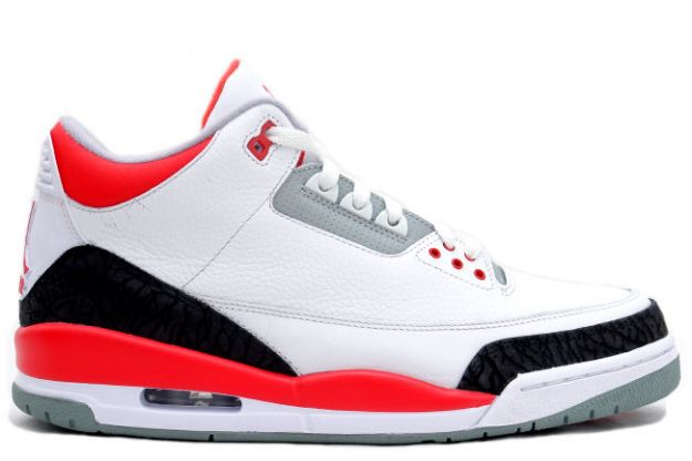 Air Jordan 3 White Fire Red Cement Grey Shoes