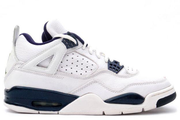 Jordan 4 Retro 1999 white columbia blue midnight navy shoes